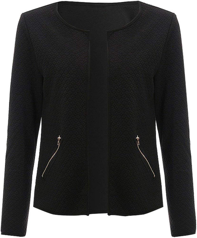 Long Sleeve Collarless Open Stitch Plaid Short Coat Elegant Jackets