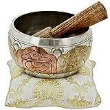 Tibetan Singing Bowl Meditation Copper and Silver Buddhist Décor 4 Inch