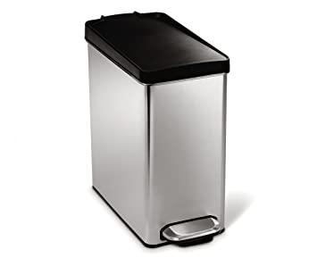 Simplehuman Profile Step Trash Can, Stainless Steel, Plastic Lid, 10 L / 2.6
