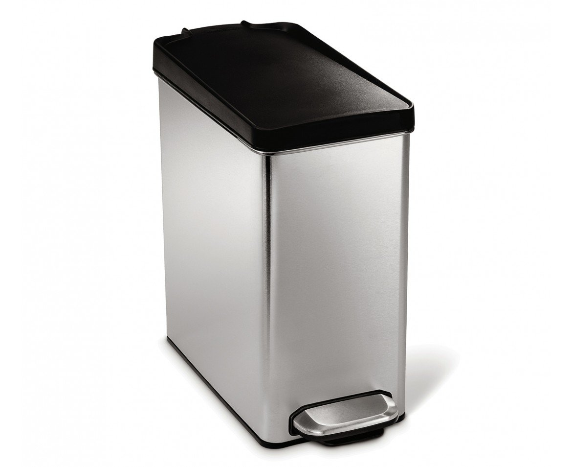 simplehuman Profile Step Trash Can, Brushed Stainless Steel, 10 Liters / 2.6 Gallons