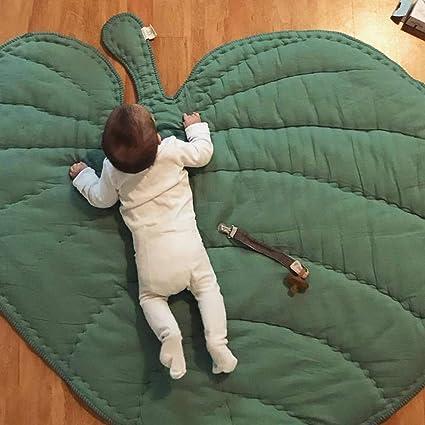 Saniswink Jeu De Jouets Pour Enfants , 110cm En Forme De Feuille B/éb/é Bambin Doux Coton Rampant Tapis Tapis Chambre D/écoration Gris
