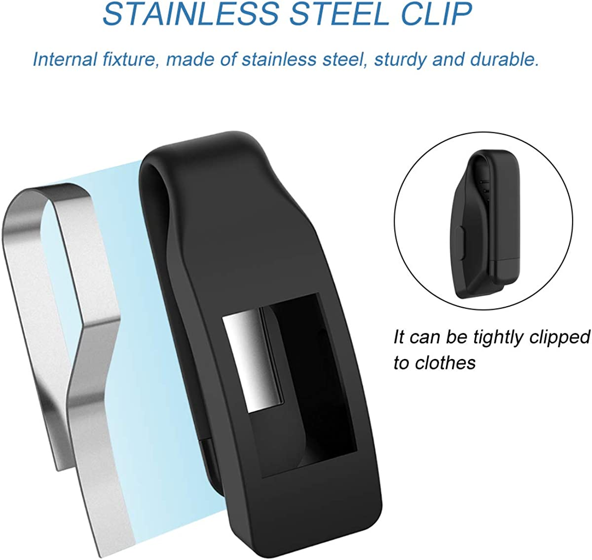 Watbro Clip Holder Compatible with Fitbit Inspire//Inspire HR Soft Silicone Sport Pocket Clip Replacement Accessories for Inspire HR Fitness Trackers Women Men