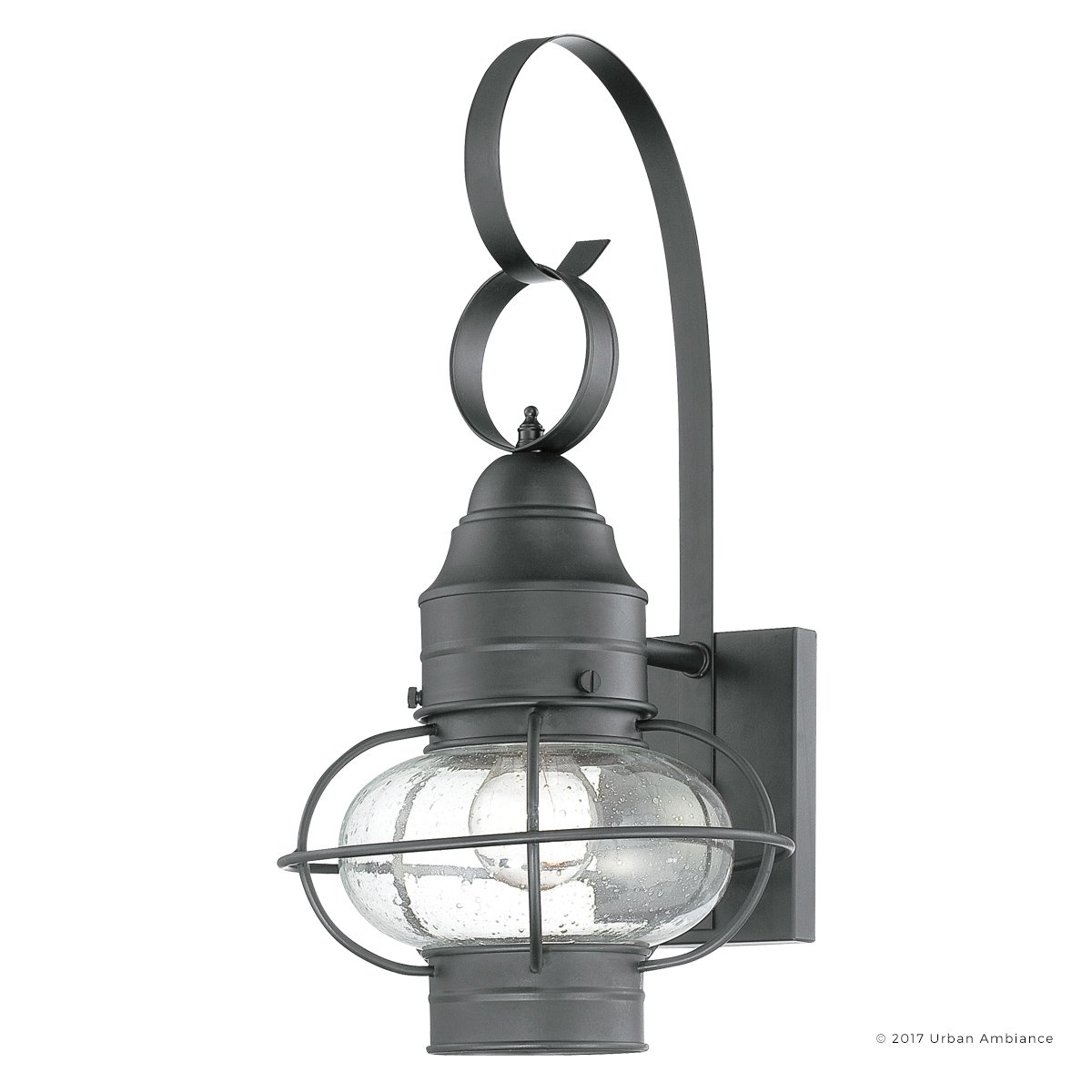 Luxury Nautical Outdoor Wall Light, Medium Size: 17.5''H x 9''W, with Art Deco Style Elements, Cage Design, High-End Black Silk Finish and Seeded Glass, UQL1030 by Urban Ambiance