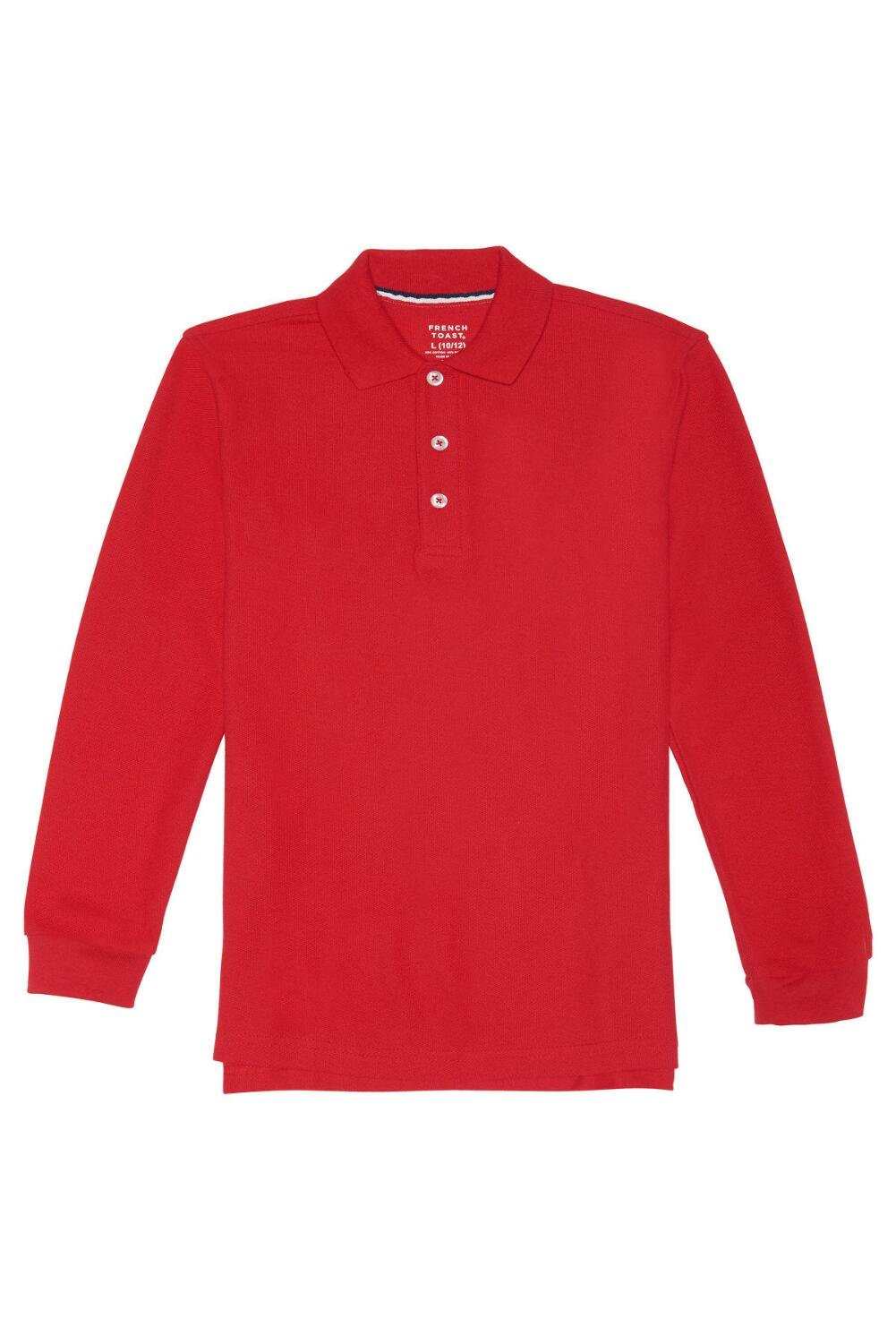 French Toast Big Boys' Long-Sleeve Pique Polo, Red, L (10/12)