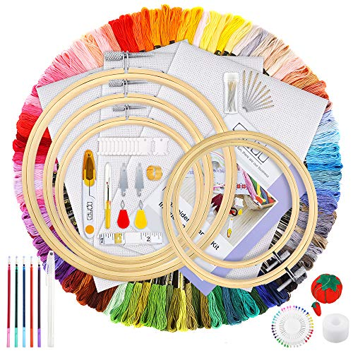 (Caydo 205 Pieces Embroidery Kit for Beginners with Instructions, 100 Color Threads, 3 Pieces Aida Cloth, 5 Pieces Bamboo Embroidery Hoops, Cross Stitch Tools Kit for Adults and Kids )