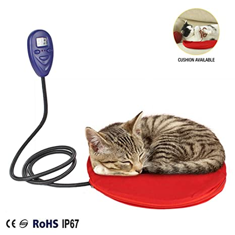 JLCYYSS Almohadilla Térmica para Mascotas De Forma Redonda para Gatos, Eléctrico, 12W De Temperatura