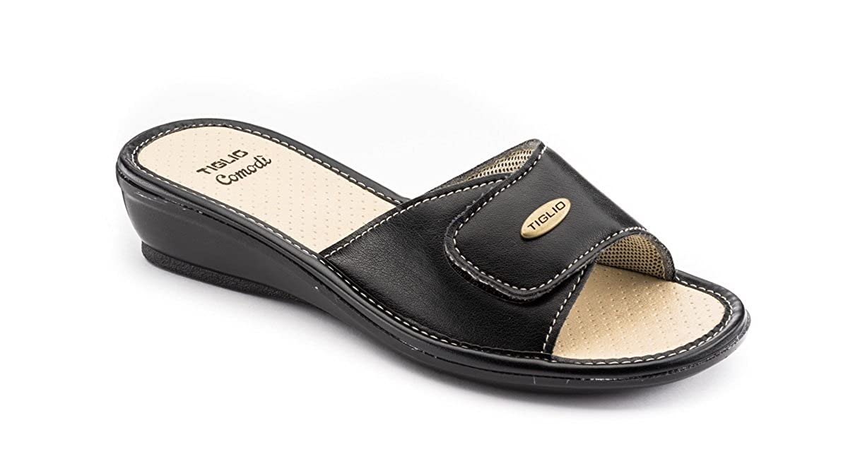 tiglio Pantofole Donna 1656 Nero Tomaia Regolabile