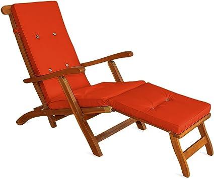 Detex® Coussin de transat   Lanières de Maintien à 8 Boutons en Lin Orange   Coussins Chaise Longue Bain de Soleil