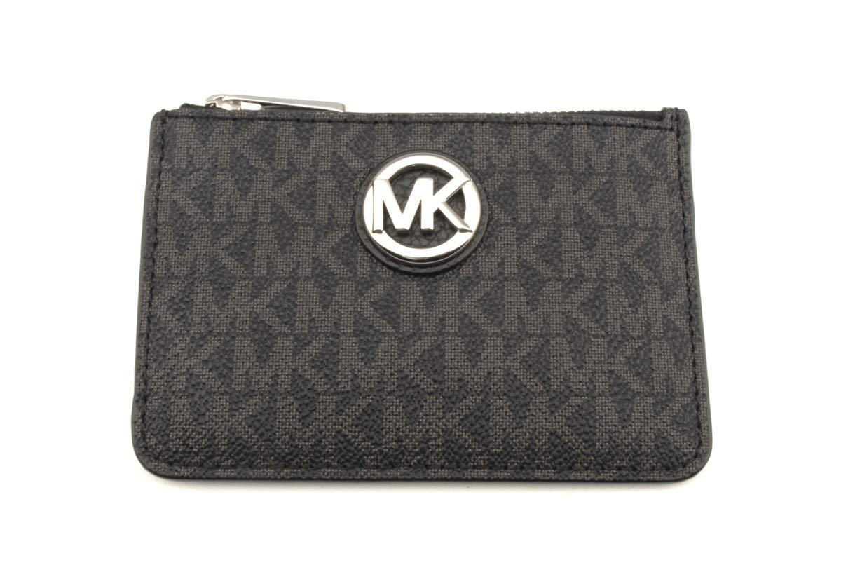 Michael Kors Fulton Small Top Zip ID Coinpouch with key Chain (Black PVC)