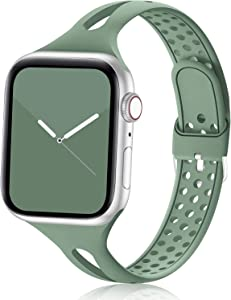 Bandiction Compatible with Apple Watch Bands 38mm 40mm 42mm 44mm Series 5 Series 3 Women Slim Silicone Sport Band Breathable iWatch Bands Narrow Replacement Strap for iWatch Series 6 SE 5 4 3 2 1