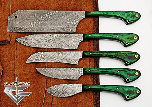 GladiatorsGuild 1033Gr Custom Made Damascus Steel 5 pcs Professional Kitchen Chef Knife Set with 5 Pocket Case Chef Knife Roll Bag (Green) by GladiatorsGuild (Image #1)