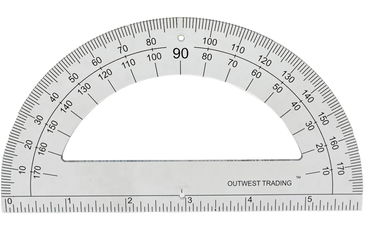 OUTWEST TRADING Plastic Student Math Protractor 180 Degrees with 6 Inch Ruler, Set of 36 by OUTWEST TRADING