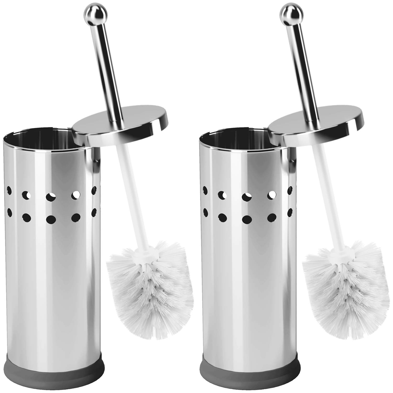 Home Intuition Hideaway Compact Vented Toilet Brush Scrubber Cleaner and Holder, Chrome, 2 Pack by Home Intuition