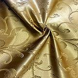 Jacquard Damask Vine Brocade Fabric 118'' Wide (Gold / Gold)