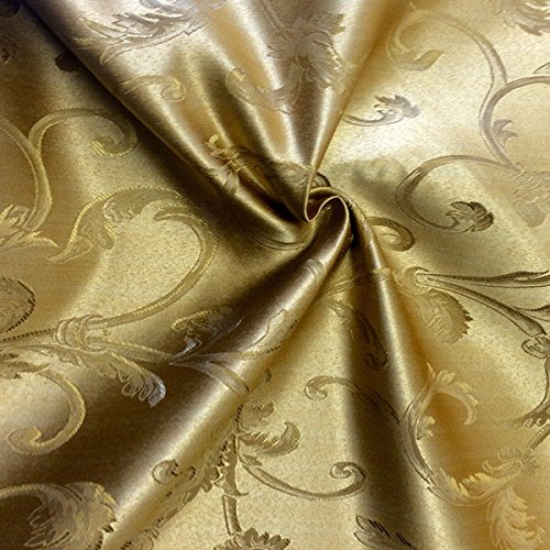 - Jacquard Damask Vine Brocade Fabric 118'' Wide (Gold / Gold)