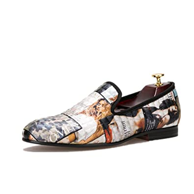 1fa54b94dd44 HI HANN Magazine-Style Graffiti Men s Loafer Shoes Slip-on Loafer Round Toes  Smoking Slipper