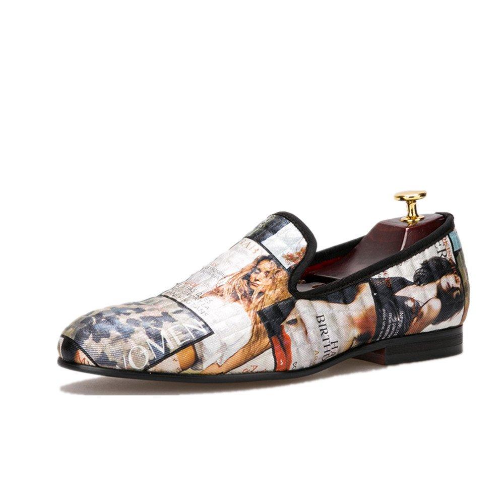 HI&HANN Magazine-style Graffiti Men's Loafer Shoes Slip-on Loafer Round Toes Smoking Slipper-11.5-Multi