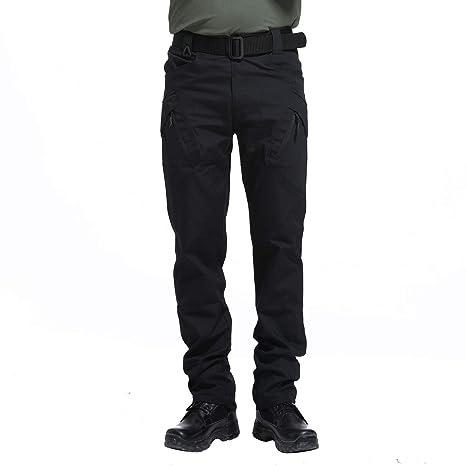 LHHMZ Pantaloni da Combattimento Tattici Militari da Uomo Pantaloni Neri mimetici da Avventura allAria Aperta Pantaloni da Caccia con Ginocchiere