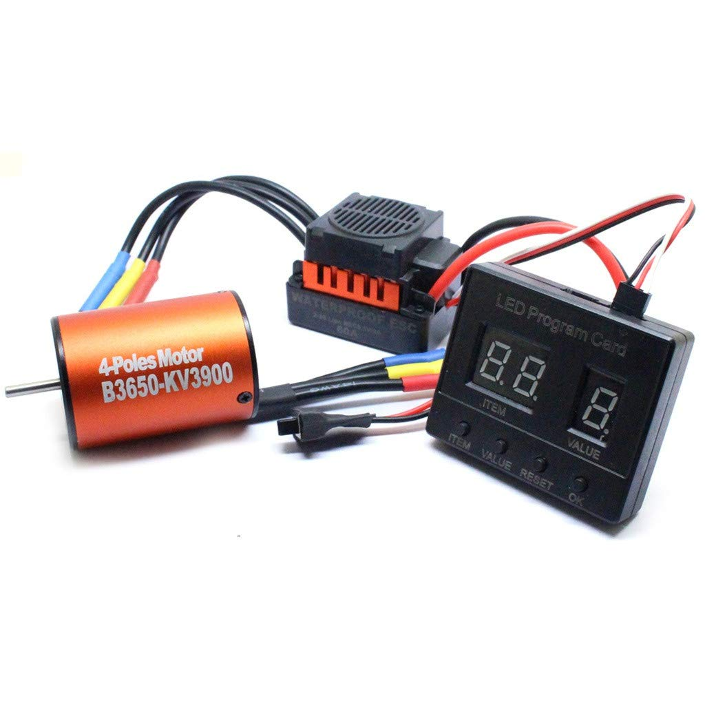 Libison Brushless Motor, New Waterproof 60A ESC and Special LED Programming Card 3 Piece Set For 1/10 RC Car Truck Orange Fit RC Car 60A ESC Fit 1/10 RC Car