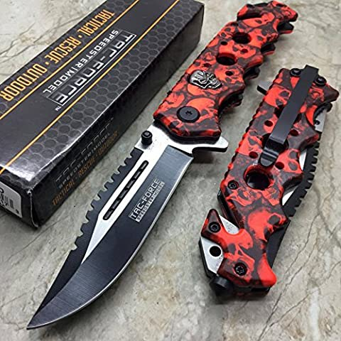 Tac Force Red Skull Head Handle Pocket Hunting Tactical hunting Handy Knife - Damascus Medallion