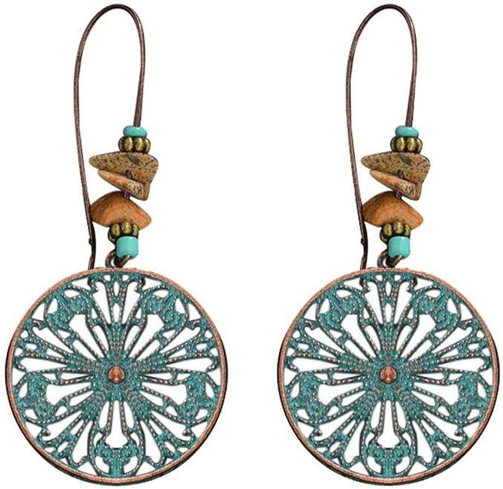 Rape Flower Ethnic Style Retro Green Pine Carved Water Drop Hollow Earrings Ladies Jewelry