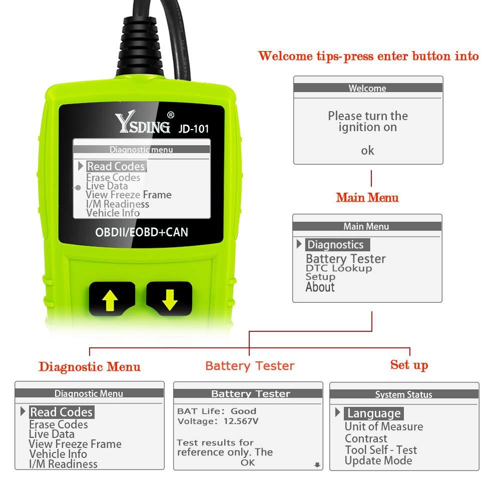 Ysding OBD2 diagnostique Voiture Scanner Auto Diagnostic Lire et Effacer Le Code de D/éfaut du V/éhicule,Testeur de Batterie,Diagnostic Scanner pour Les V/éhicules /à Partir De 2000