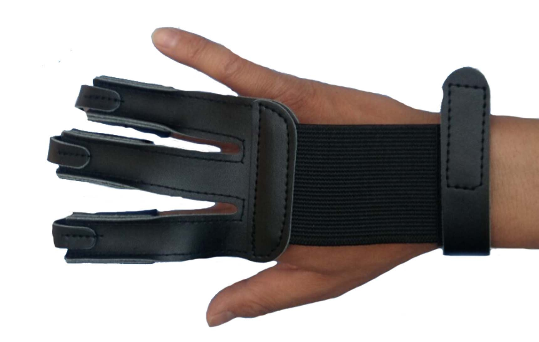 ZHW Black Three Fingers Cowskin for Hunting Bow Archery Glove Finger Protector