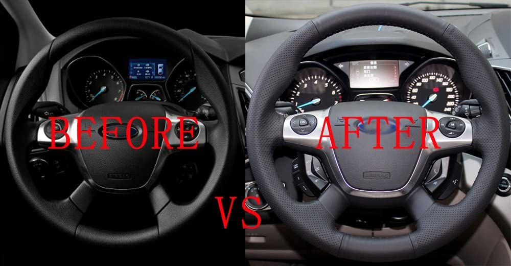 sikmoi Car Steering Wheel Cover Sequin Trim Sticker Fit ,For Ford Focus 3 MK3 Kuga Escape 2012-2015 C-Max Cmax