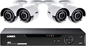 Lorex LHV5100 Series 8-Channel 4K UHD DVR Bundle with 1TB HDD and 4X LBV8531B 4K UHD Network Bullet Cameras with 135' Night Vision, H.264+, White