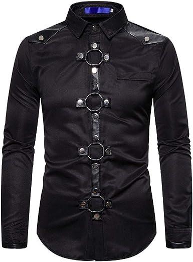 Disfraces Cosplay Camisa gótica del Remache de Manga Larga del Retro del Ajustado de los Hombres: Amazon.es: Ropa y accesorios