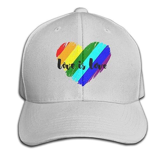 Amazon.com  Baseball Hats Love is Love Rainbow Snapback Sandwich Cap ... a0bac3f9d37