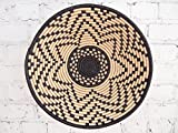 16'' X-Large African Basket- Kitale / Rwanda Basket / Woven Bowl / Sisal & Sweetgrass Basket / Black, Tan