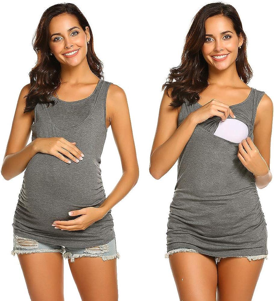 Umstandstop Mit Stillfunktion Umstandsshirt luftig Mit Kurzarm Nursing stillen Schwangerschaft Top Umstandsmode Unibelle Stilltops//Umstands T Shirt