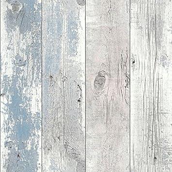 Bleu nautique 670508 Papier peint en bois flotté: Amazon.fr: Bricolage
