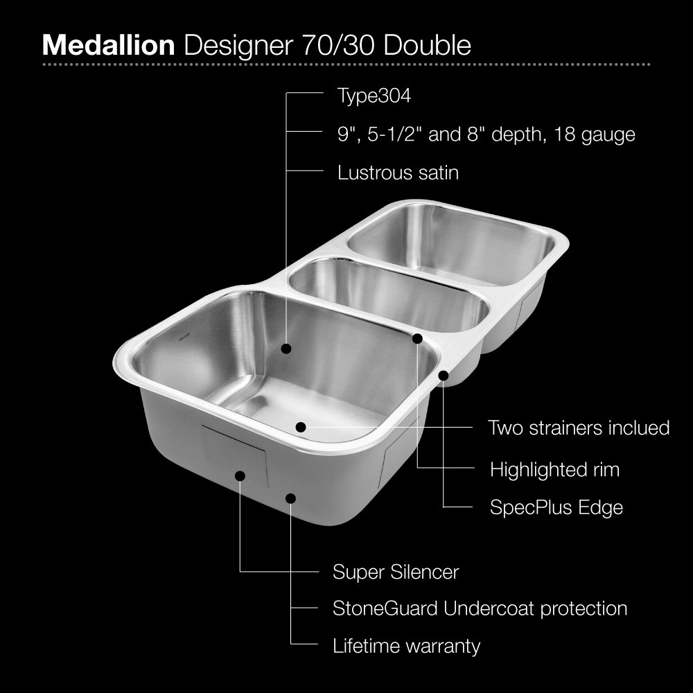 Houzer MGT-4120-1 Medallion Gourmet Series Undermount Stainless Steel Triple Bowl Kitchen Sink by HOUZER (Image #3)