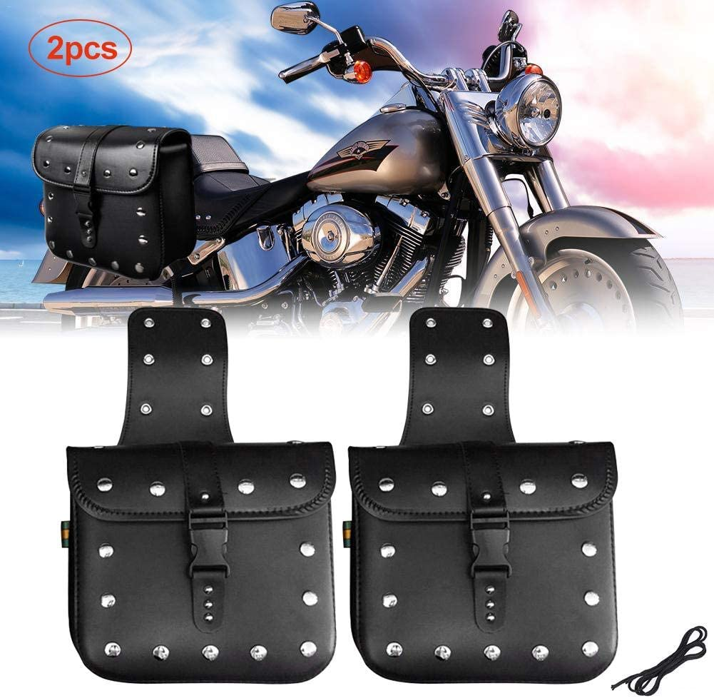One Pair Motorcycle Saddle Bag Set Medium Heavy-Duty Waterproof Insulated PU Leather Side Bags,Throw-Over Saddlebags Tool Bags Handlebar Bags for Harley Sportster Softail Honda Suzuki Yamaha Cruiser