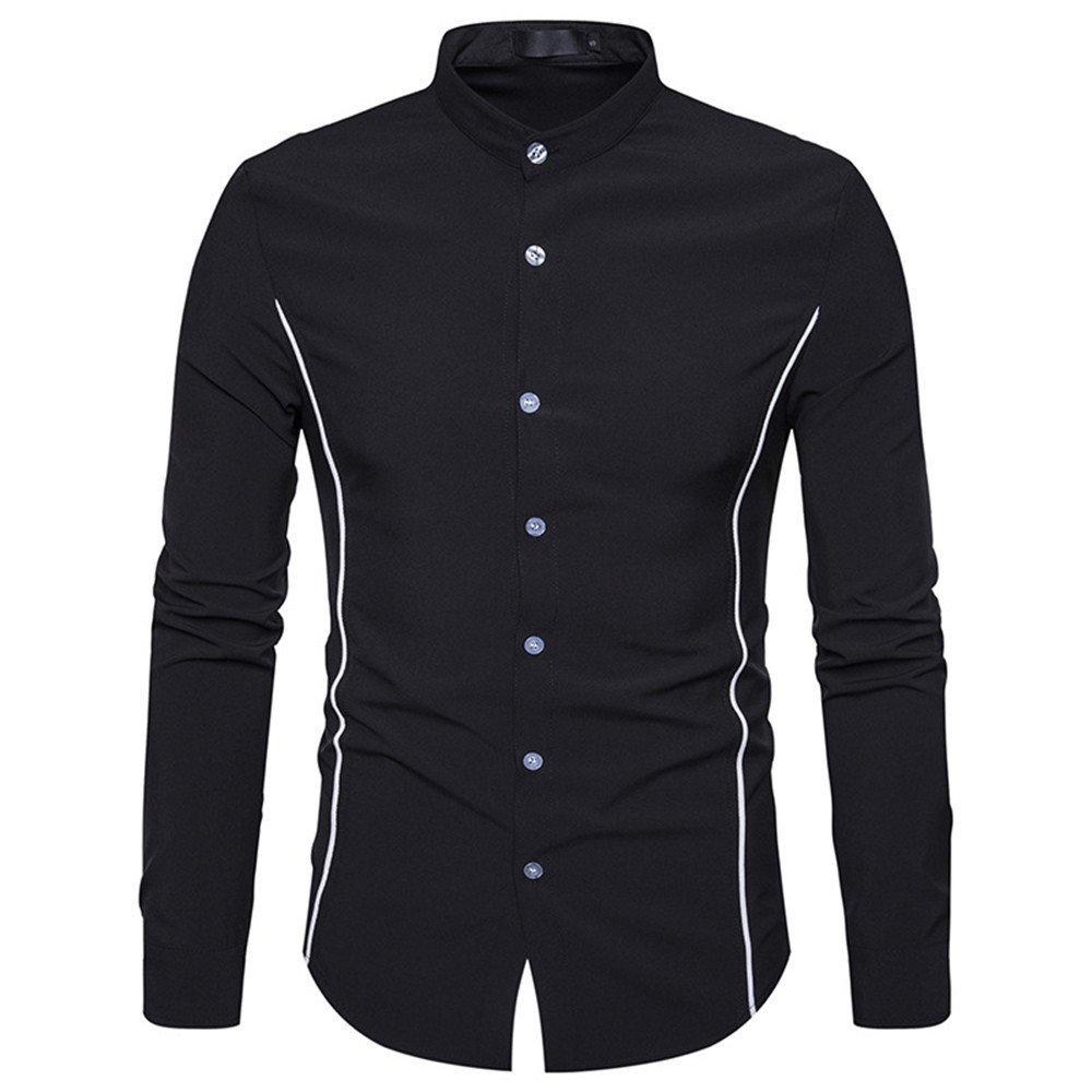 Herren Langarm Hemd europäische männer mit Langen ärmeln Hemd Kragen Rand hengli persönlichkeit,schwarz,XL