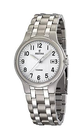 FESTINA F16460/1 - Reloj de Caballero de Cuarzo, Correa de Titanio Color Gris: Festina: Amazon.es: Relojes