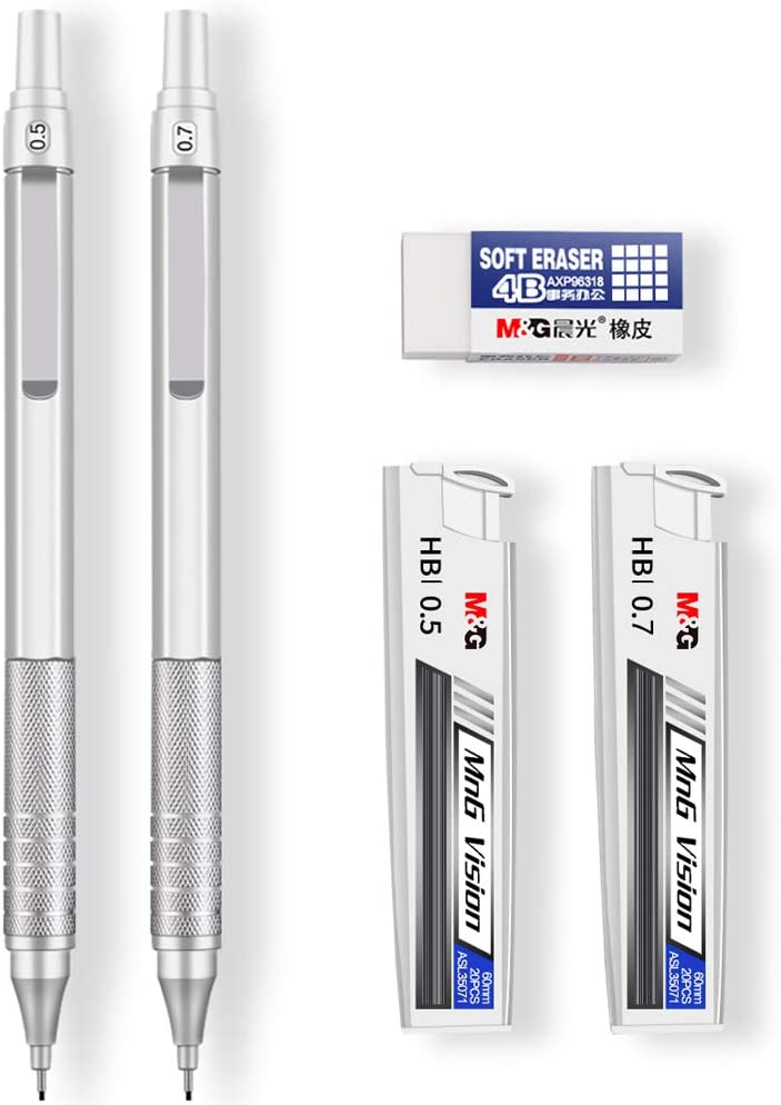 Mechanical Pencils, Jimmidda 0.5 and 0.7 Mechanical Pencils with Refills for Writing