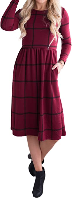 Women's A Line Checked Midi Jumper Crewneck Plaid Shirt Dress