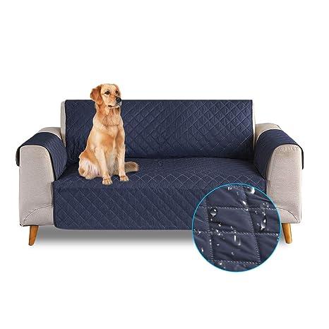 PETCUTE Sofa Fundas de sillones Impermeable Cubre sillones Fundas para sillones Fundas de Sofa 1 Plaza para Perros Gatos Azul Oscuro