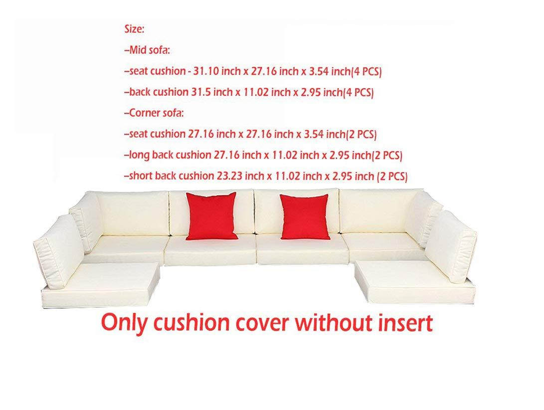 HTTH Outdoor Cushion Cover of Polar Aurora 7pcs Outdoor Garden Patio Furniture Sofa Rattan Set Cushion Cover (Beige)
