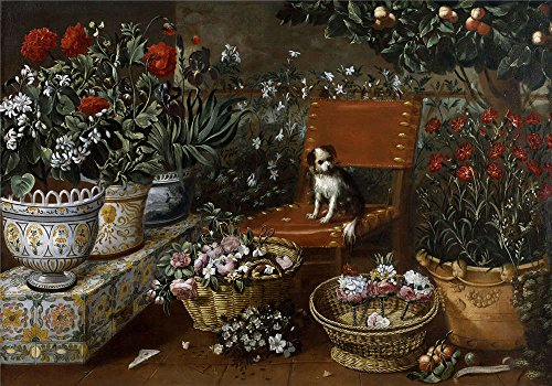 Oil Painting 'Hiepes Tomas Rincon De Jardin Con Perrito 1660 70', 10 x 14 inch / 25 x 36 cm , on High Definition HD canvas prints is for Gifts And Bar, Dining Room And Hallway Decoration