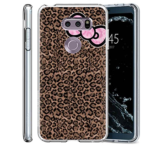Naked Ribbons - [NakedShield] LG V30/V30 PLUS/V30+ [Clear] Ultra Slim TPU Phone Cover Case [Leopard Ribbon Print]