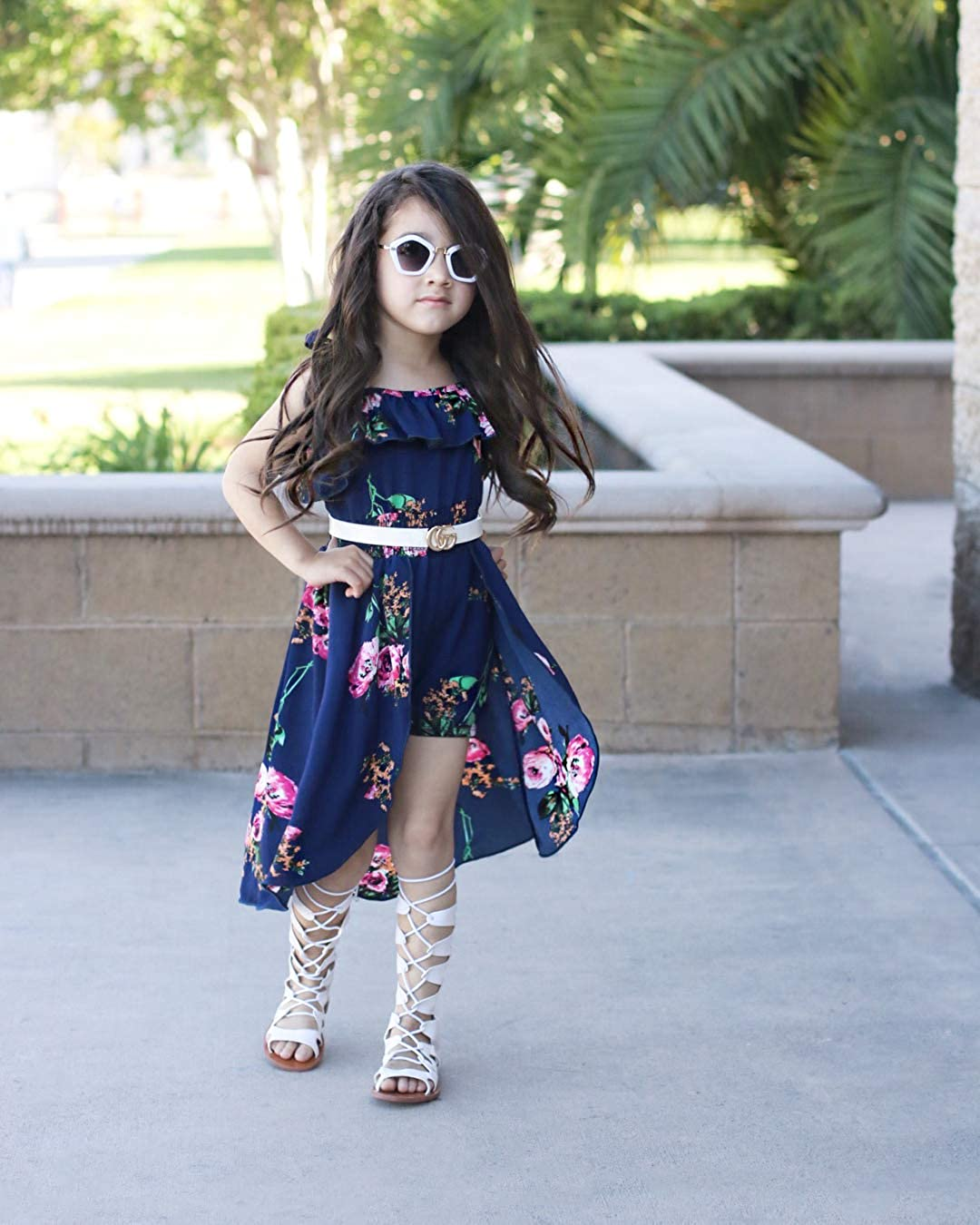 Baby Girls Ruffles Romper Outfits Floral Clothes Halter One-Pieces Shorts Jumpsuit Sunsuit Dress Sets