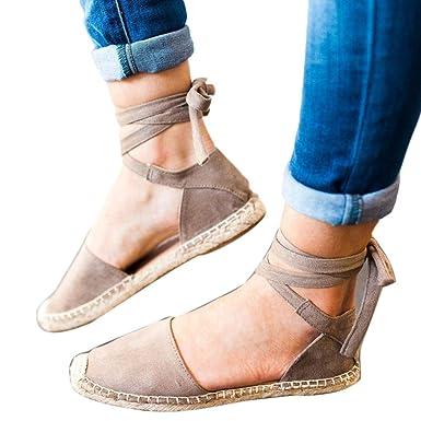 OYSOHE Damen Flat Lace Up Espadrilles Sommer Chunky Urlaub Sandalen Schuhe Strap Schuhe Sandalen Stroh Leinen...