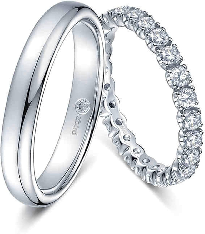KnSam Anillo Oro Blanco de 18K, Pulido Puntadas Anillo de Bodas con Diamante Blanco 0.108ct, Anillo de Hombre Anillo de Mujer (Precio por 2 Anillos)