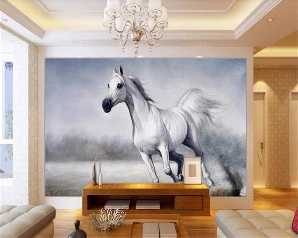Moda interior papel pintado pintura caballo blanco corriendo fondo papeles de pared decoración para el hogar papel tapiz 3d 250×175cm