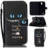 S4 Mini Case,Galaxy S4 Mini Case,Black Cat Blue Eyes Pattern Wallet Pouch Case Cover With Fold Up Kickstand and Detachable Wrist Strap for Samsung Galaxy S4 Mini