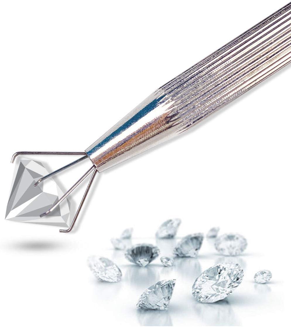 4 sets 3//4 Prong Diamond Gem Tweezer Part Beads Pick-up Tool Claw Holders